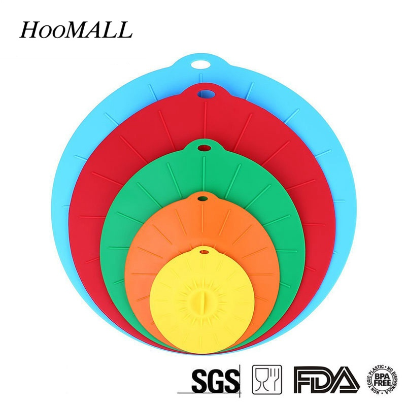 Hoomall 5Pcs/Set Silicone Kitchen Food Covers Lid Cups