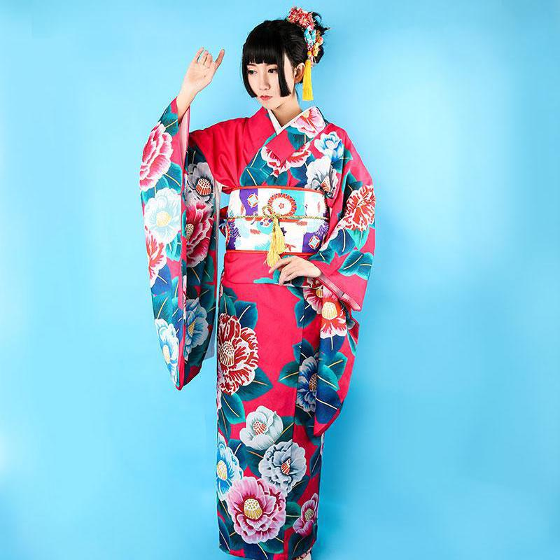 High Quality 12 Pieces Set Japanese Women Kimono Yukata Print Floral Long Robe Elegant Evening Dress Stage Performance Clothes