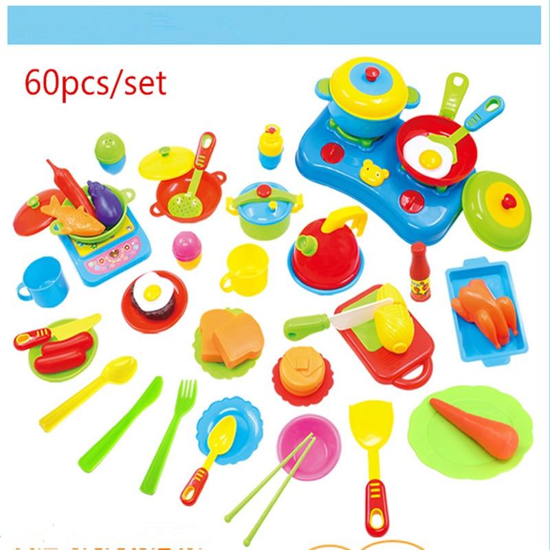60pcs Set Plastic Kitchen Toy Miniature Kitchen Cuisine Tableware Children Educational Games Kitchen Accessories Set