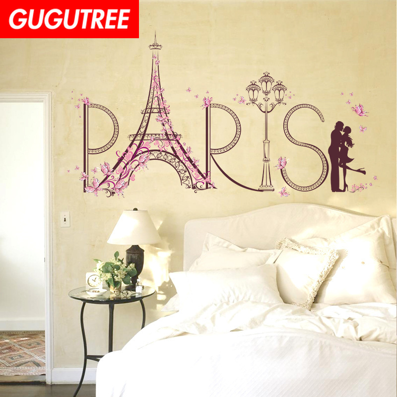 Decorate iron tower flower love art wall sticker decoration Decals mural painting Removable Decor Wallpaper LF 1761 in Wall Stickers from Home Garden