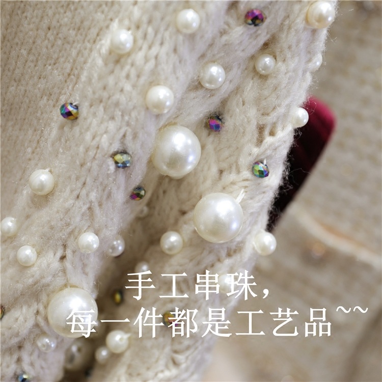 Épaississement Pull À Manteau Perlée Tricots Apricot 2018 Printemps Hiver Nouvelle Femmes Dames Chaud Fille Mode Tricoter Lourd Tricot Cardigan XnwkN80ZOP