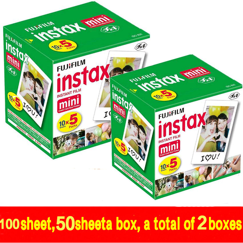 100 sheets Fujifilm Fuji Instax Mini 8 film for Fujifilm Instant Mini 7s 25 50s Camera Fuji Instax White Edge Photo film Paper 5 packs fuji fujifilm instax mini instant film monochrome photo paper for mini 8 7s 7 50s 50i 90 25 dw share sp 1 cameras