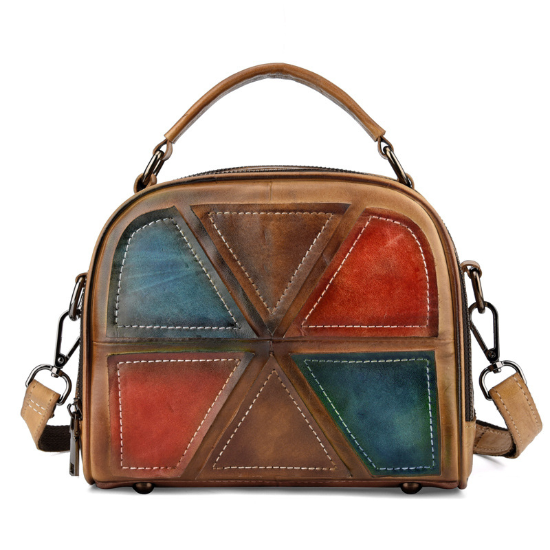Woman Handmade Vintage Genuine Leather Handbags Ladies Retro Shoulder Messenger Bag Tanned Leather Hand-printed Womans Bag