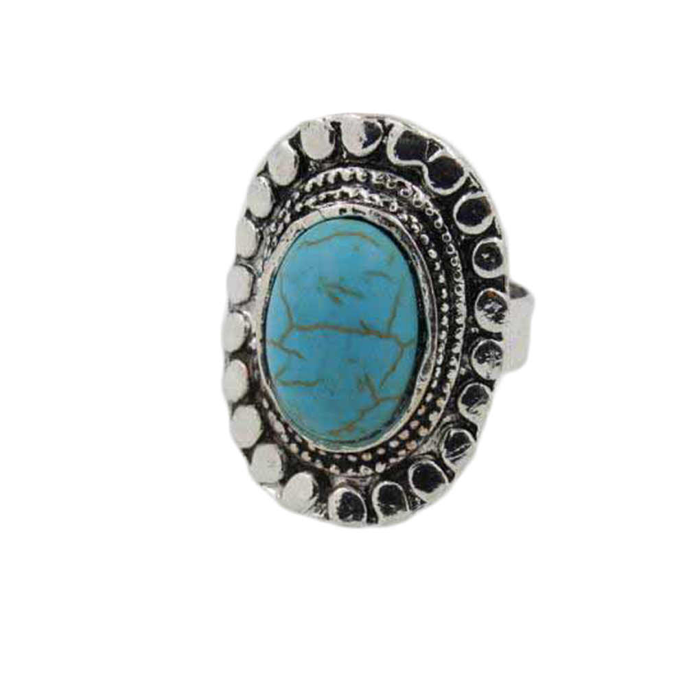 Exaggeration Retro Stone Ring For Women Antique Silver Color Fashion  Carving Vintage Jewelry