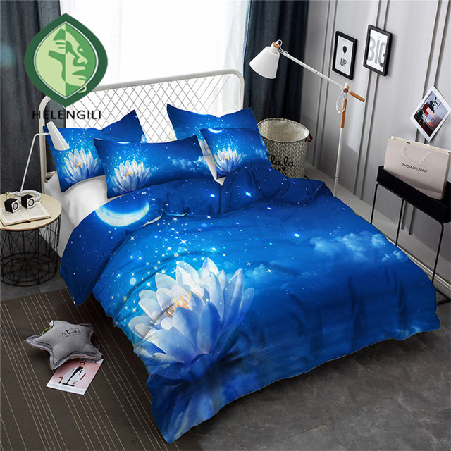 HELENGILI 3D Bedding Set Lotus Flower Print Duvet Cover Set Bedclothes with Pillowcase Bed Set Home Textiles #XH-43