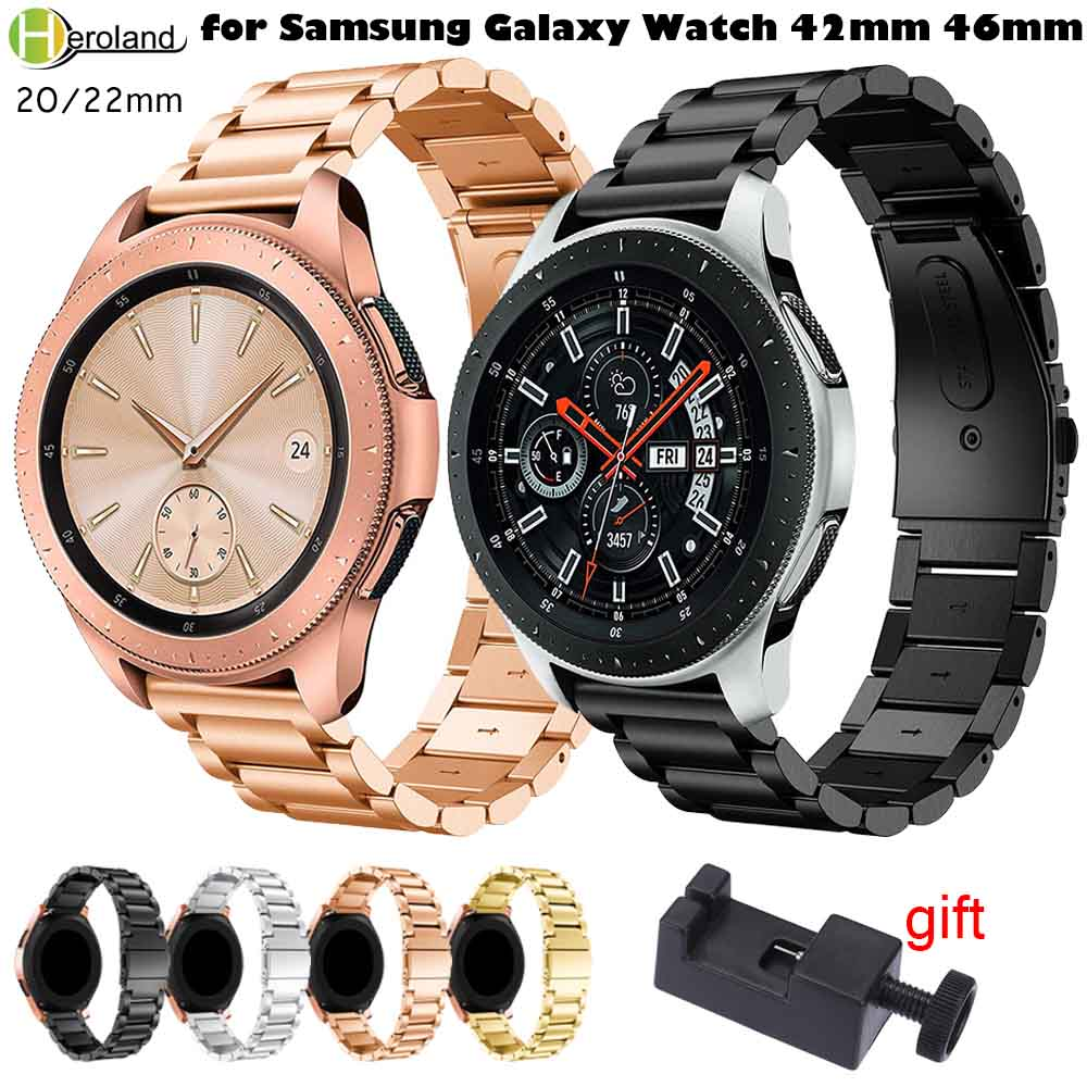 20mm 22mm Watchband Stainless Steel For Samsung Gear S3 S2/S4 Classic/Frontier Wrist Strap For Samsung Galaxy Watch 42/46mm+tool20mm 22mm Watchband Stainless Steel For Samsung Gear S3 S2/S4 Classic/Frontier Wrist Strap For Samsung Galaxy Watch 42/46mm+tool
