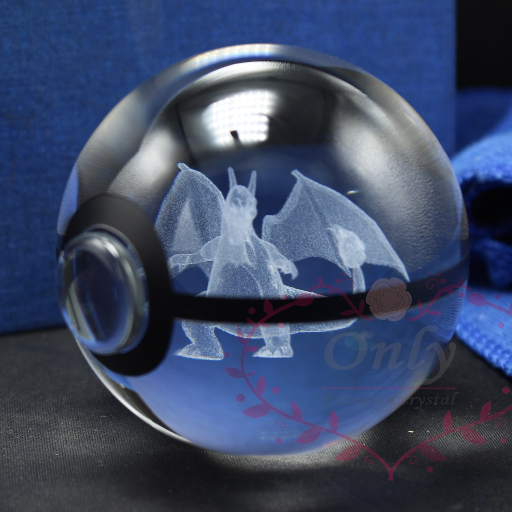 New Design Crystal Glass Pokemon Go 3D Charizard Trainer Ball