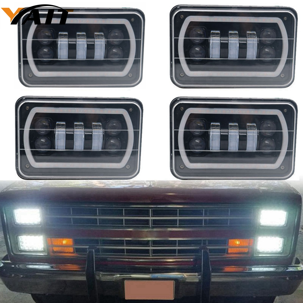 Yait 4x6 Halo Led Headlight Rectangular With DRL Amber Halo Turn Signal For Chevrolet Ford Trucks Freightliner Peterbil Kenworth