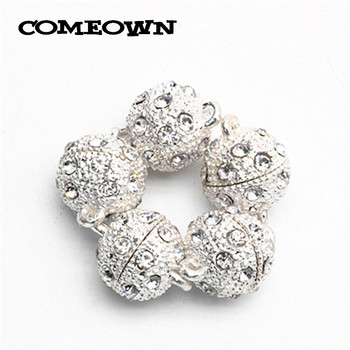 COMEOWN Newest 5pcs Silver Color Rhinestones Magnetic Clasps 10mm 12mm 14mm Bracelet Clasp Accessories for Jewelery Making