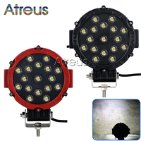 Atreus 2X 7Inch 51W Round Car LED Work Light 12V 24V 17X3W Spot For 4x4 Offroad Truck ATV Jeep Fog Lamp Car Styling accessories