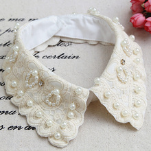 Necklace Fake-Shirt Detachable-Collar Embroidered Newly-Design Cotton Flower White Vintage