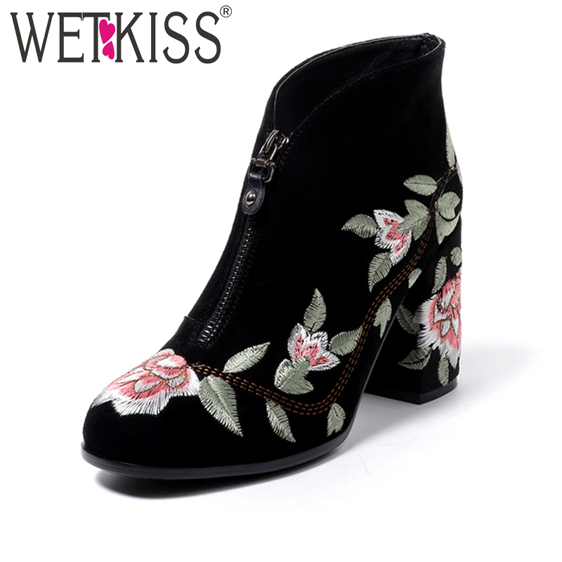 WETKISS Retro Luxury Embroider Ankle Boots Comfortable Female Boots Autumn 2018 High Square Heel Women Shoes Zipper New Arrival