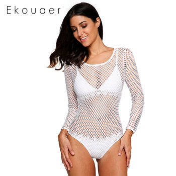 Ekouaer Summer Beach Cover Up Swimwear Bikini Cover up Solid Hollow Out Mesh Fishnet Back Cut Out  White Lace Women Beachwear