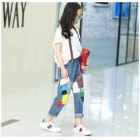 Girl Pants New Arrive Candy Color Girls jeans Toddler Leggings 4-7Y Children Embroidery patchwork Trousers Baby Kids Leggings