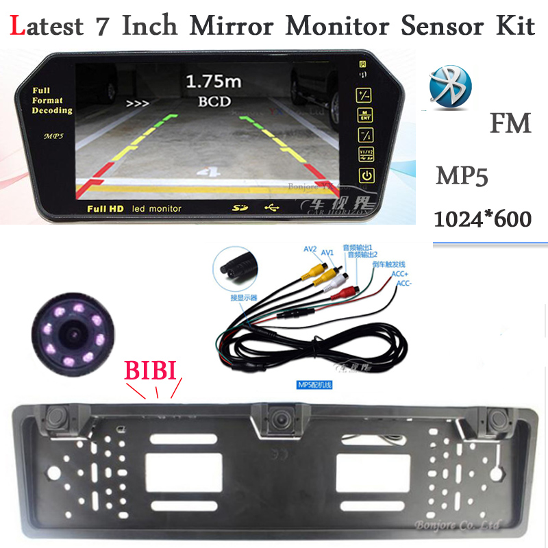 New 7 Inch Mirror Monitor TFT LCD 1024*600 Bluetooth With Audio Output MP5 SD USB slot with car rear view camera parking Sensor wmx mini blocks big size diy building toys diamond small bricks cute auction figures juguetes for kids toys gift
