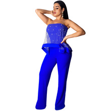 Women Jumpsuit Sheer Mesh Beading Spliced Sexy Off Shoulder Sleeveless Celebrity Club Party Bodysuit Wide Leg Beach Rompers