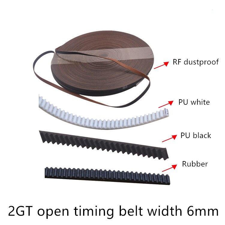 3d Printer 2GT Polyurethane Steel Wire Rubber Dustproof Open Ended Belt Timing Width 6mm GT2 Linear Motion PU
