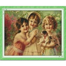 Joy sunday figur stil drei kleinen engel 14ct 11ct printed kreuzstich set stickerei handsatz wohnkultur r595