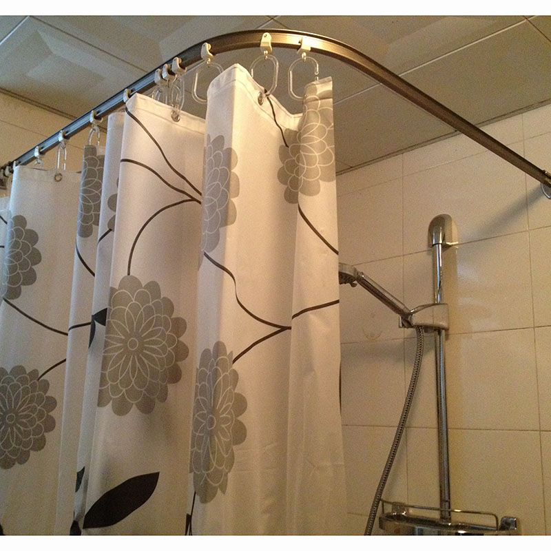 quiet pulley curved shower curtain rod straight bar shaped u shaped l shaped profile can be customized