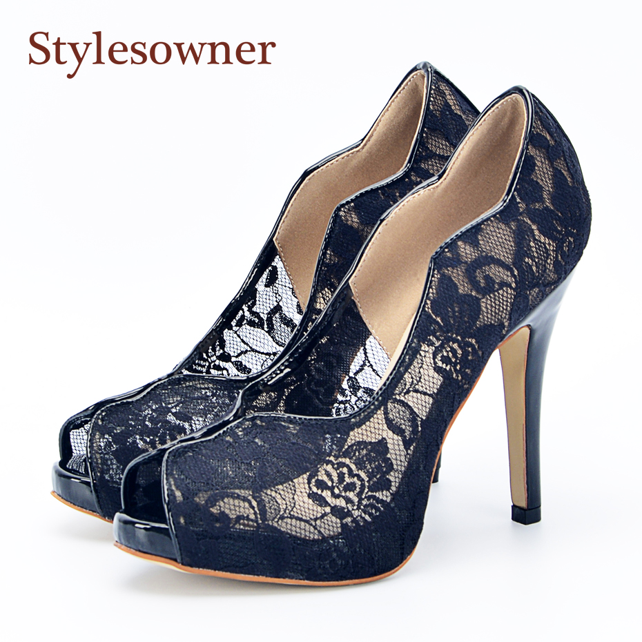 Stylesowner Real Leather Lace Peep Toe Lady Summer Shoe Shallow Mouth Slip On Black Sexy Sandal Shoe 11CM Thin Heel Zapatos 2018 summer new arrived strap design wedges women sandals peep toe comfort mid heel sexy lady sandal fashion student casual shoe