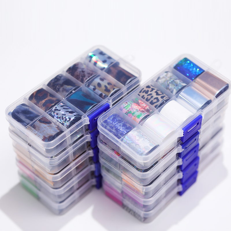 10 Rolls/Box Star Nail Foils Transfer Decals  Halloween Shimmer Nail Art Stickers Nail Tips DIY Decorations