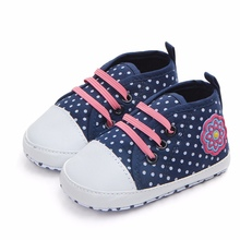 2018Baby Girls Shoes Canvas Cute Dot Pattern Baby Shoes Anti
