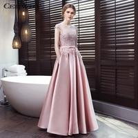 037ae7a09 CEEWHY Open Back Lace Satin Dress Elegant Pink Gowns Vestido De Festa A Line  Long Evening