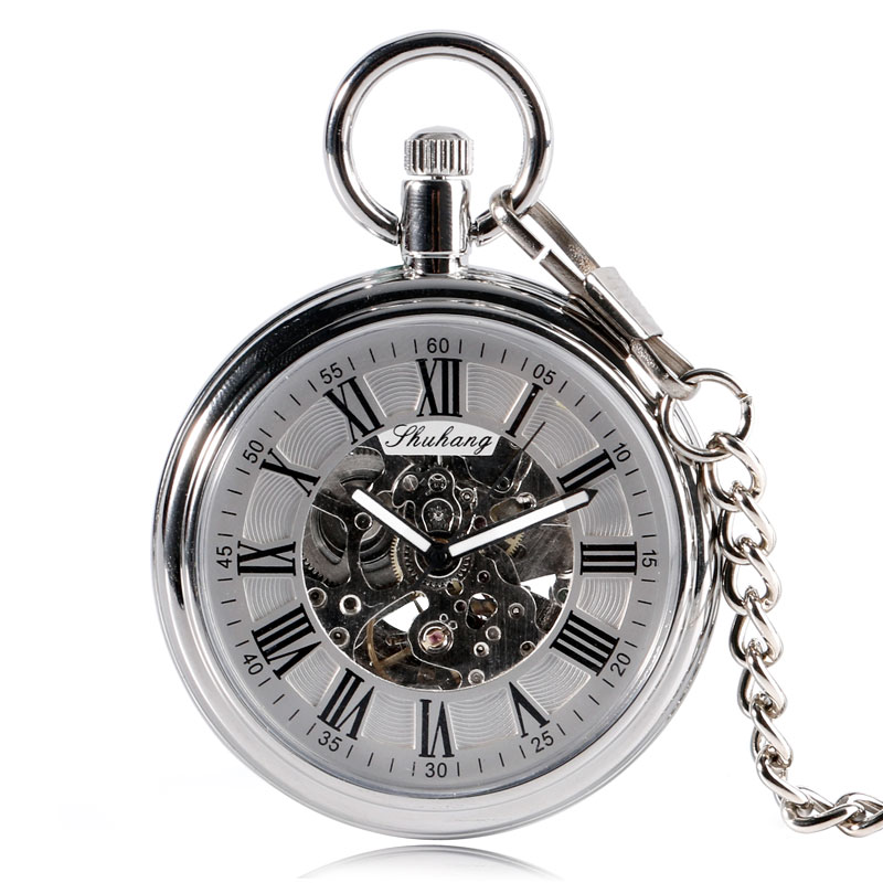 Silver Roman Numbers Gift Classic Fob Self Winding Skeleton Automatic Mechanical Pocket Watch Open Face Pendant Simple elegant retro fob chain pendant copper roman numbers skeleton hand winding mechanical pocket watch flower dial gift womens mens