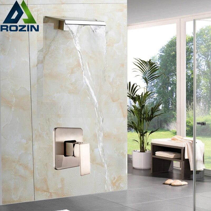 Modern Design Single Handle Waterfall Shower Faucet Set Wall Mounted Bathroom Mixer Tap Brushed Nickel Finish