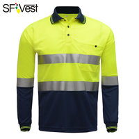SFVest High visibility safety work polo t shirt Moisture Wicking Fabric heated bright silver reflective t shirt polo shirt