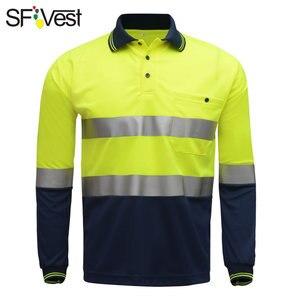 Image 1 - SFVest zicht veiligheid werk polo t shirt Vochtafvoerende Stof verwarmde heldere zilveren reflecterende t shirt polo shirt