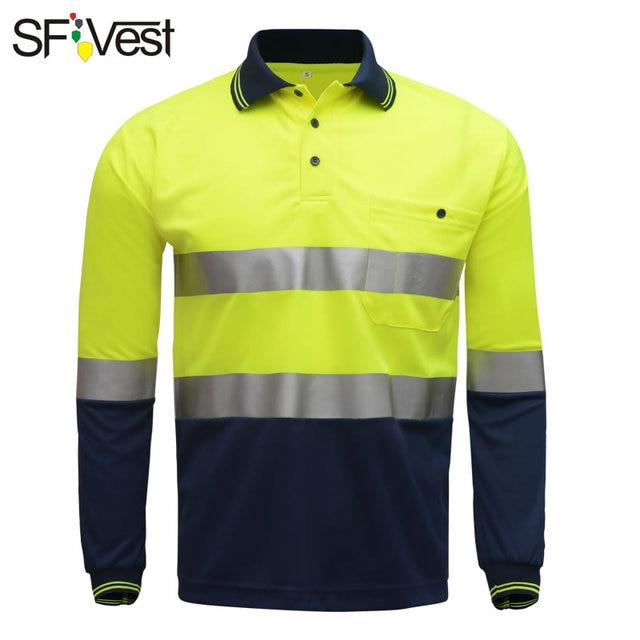 SFVest zicht veiligheid werk polo t shirt Vochtafvoerende Stof verwarmde heldere zilveren reflecterende t shirt polo shirt