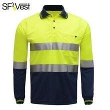 ראות בטיחות גבוהה SFVest רעיוני כסף בהיר מחומם בד הפתילה לחות העבודה פולו חולצה חולצת פולו חולצת טריקו