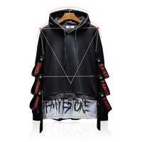 Fake Two Pieces Men Hoodies Tracksuit Ribbons Harajuku Japanese Streetwear Black Hoodie Hip Hop Hooded Sweatshirts Men 50na68
