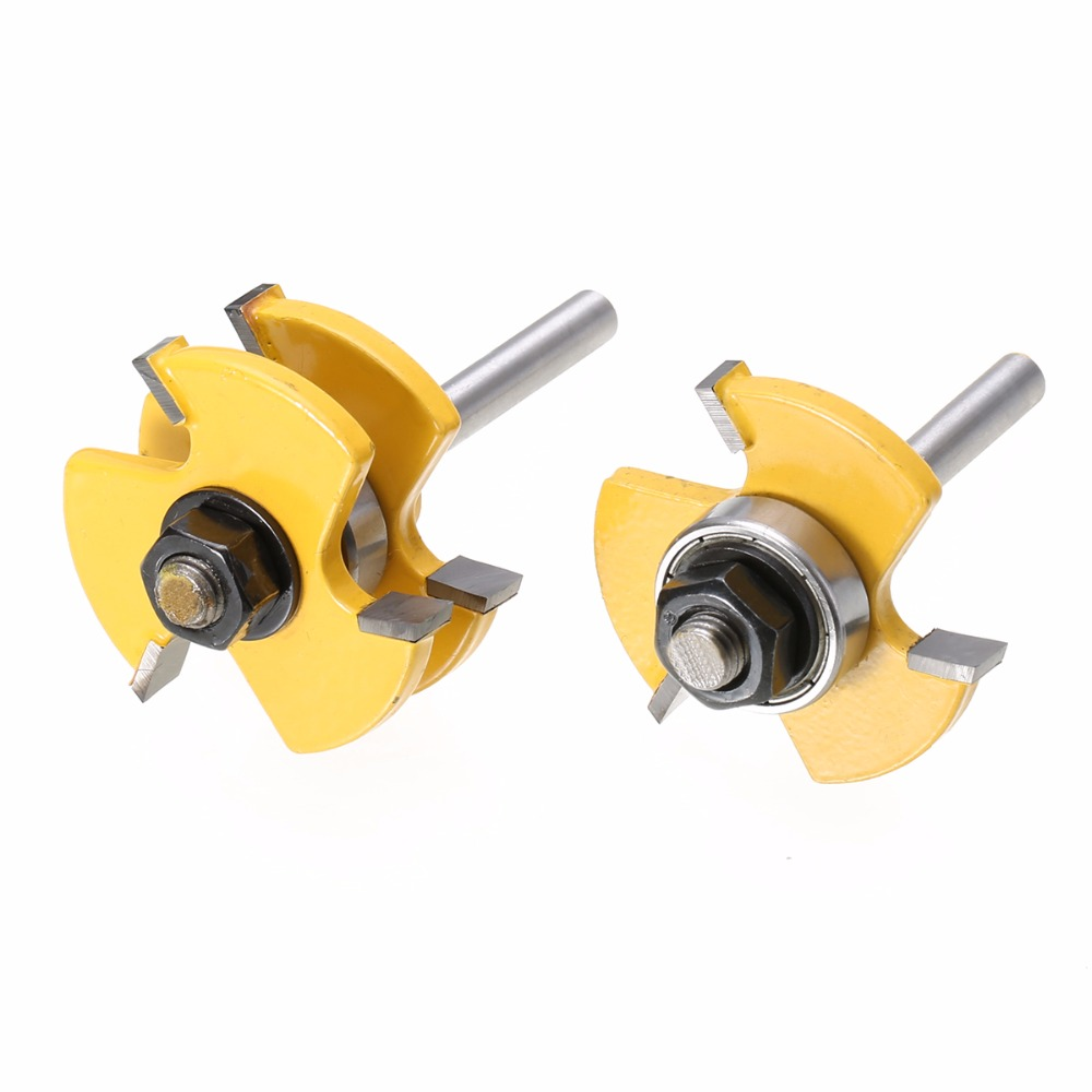 2pcs New Tongue & Groove Router Bits Set 3/4 Stock 1/4 Shank For Woodworking Tool 2pcs tongue