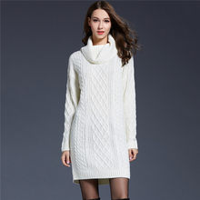 Knitted Sweater Women White Gray 6 Colors M-4XL Plus Size Turtleneck Sweaters 19 New Autumn Winter Long Loose Slim Sweater JD350(China)