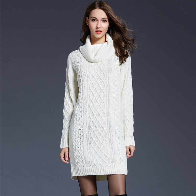Knitted Sweater Women White Gray 6 Colors M-4XL Plus Size Turtleneck Sweaters 19 New Autumn Winter Long Loose Slim Sweater JD350