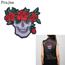 Prajna Punk Skull Clothing Patches Rose Red Badges Embroidery Iron-On Biker Patch For Clothes Sew On Stripe Badge