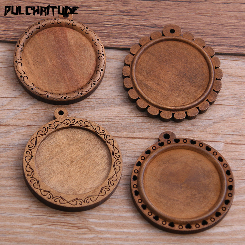PULCHRITUDE 4pcs/lot 30mm Inner Size 4 Style Round Wood Big Cabochon Base Setting Charms Pendant Necklace Findings P6944