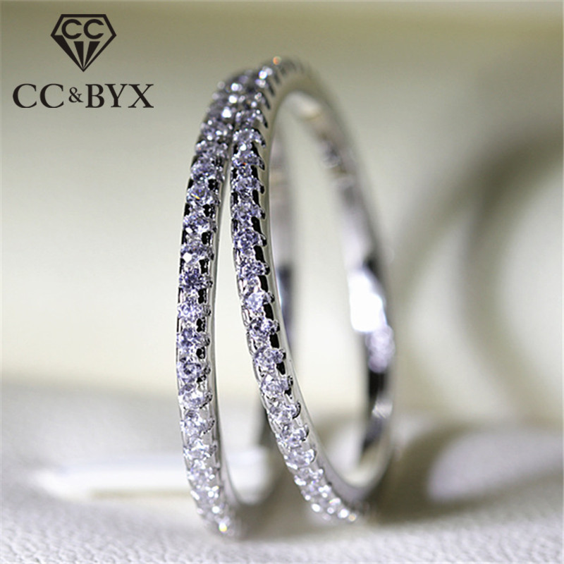 CC Anillos Rings For Women S925 Silver Bridal Wedding Jewelry Engagement Party Ring Whit ...