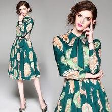 0fc1a35ab3b Green Print Bow Tunic Pleated Dress Women Elegant Vintage Sweet Sexy Office  Party Fashion Beach Dress