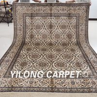 YILONG 8'x10' Floor Silk Rugs Hand knotted Carpets Floral Design Handmade (YX029B8x10)