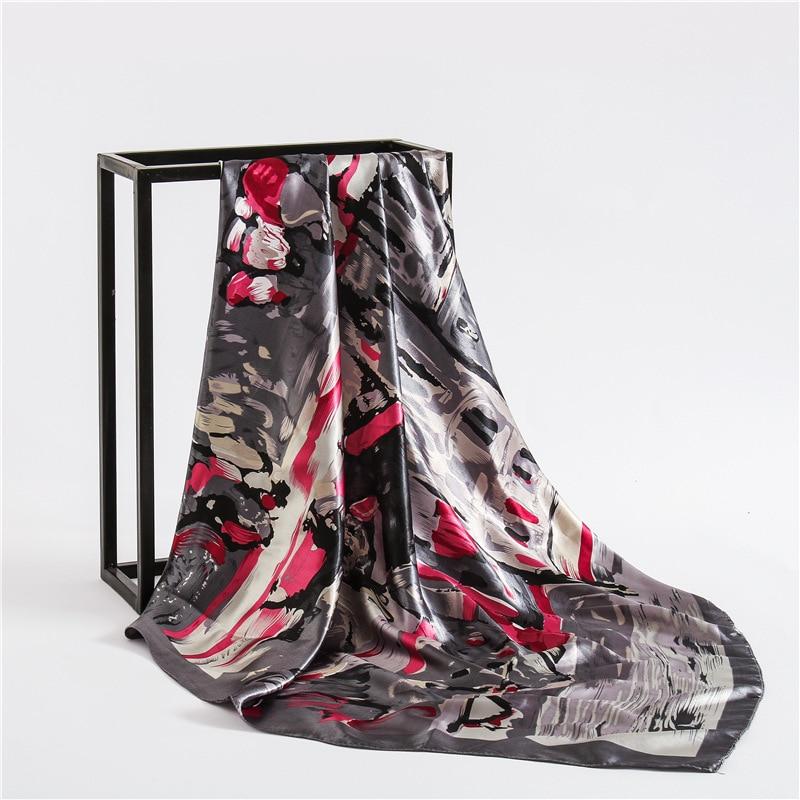Fashion 2020 New Women Scarves Square Large Size Smooth Print Silk Shawl Wrap Lady Pashmina Handkerchief Satin Hiabs 90*90cm