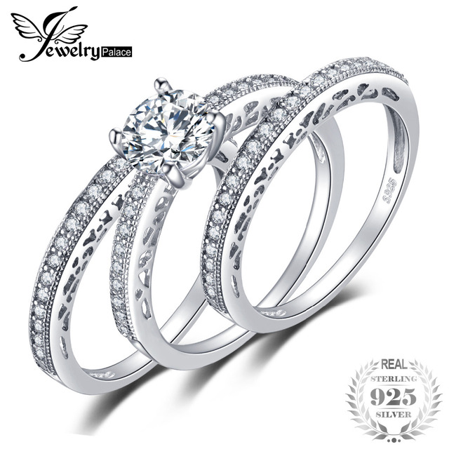 JewelryPalace Vintage 1.5ct Cubic Zirconia 3 Pcs Anniversary Wedding Band  Engagement Ring Bridal Sets 925 Sterling Silver Rings 6965d92ac0
