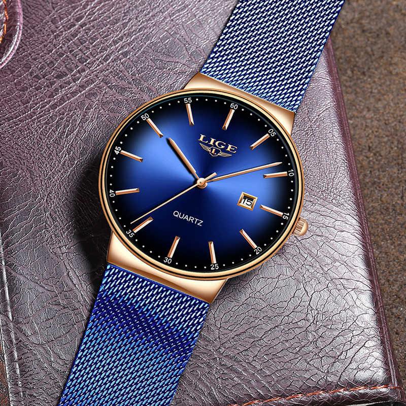 Montre Femme LIGE nuevo reloj de lujo para mujer, relojes sencillos de moda, correa de malla azul para mujer, reloj de cuarzo, reloj femenino
