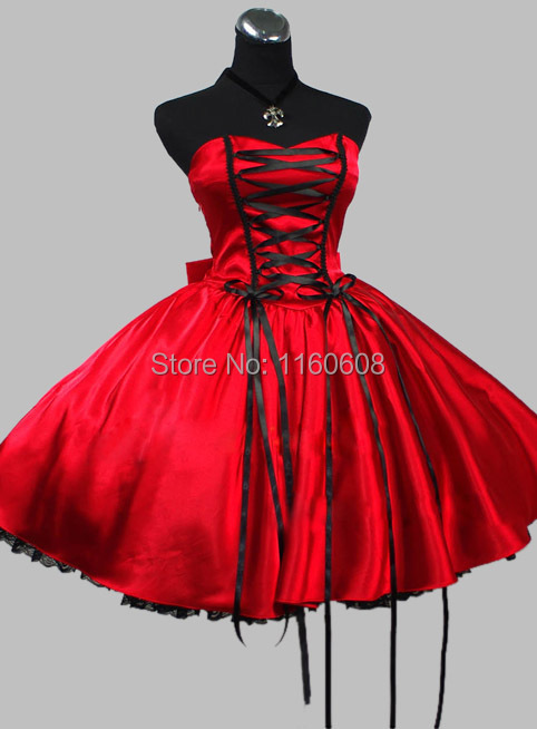 gothic red and black lace up victorian inspired red dress