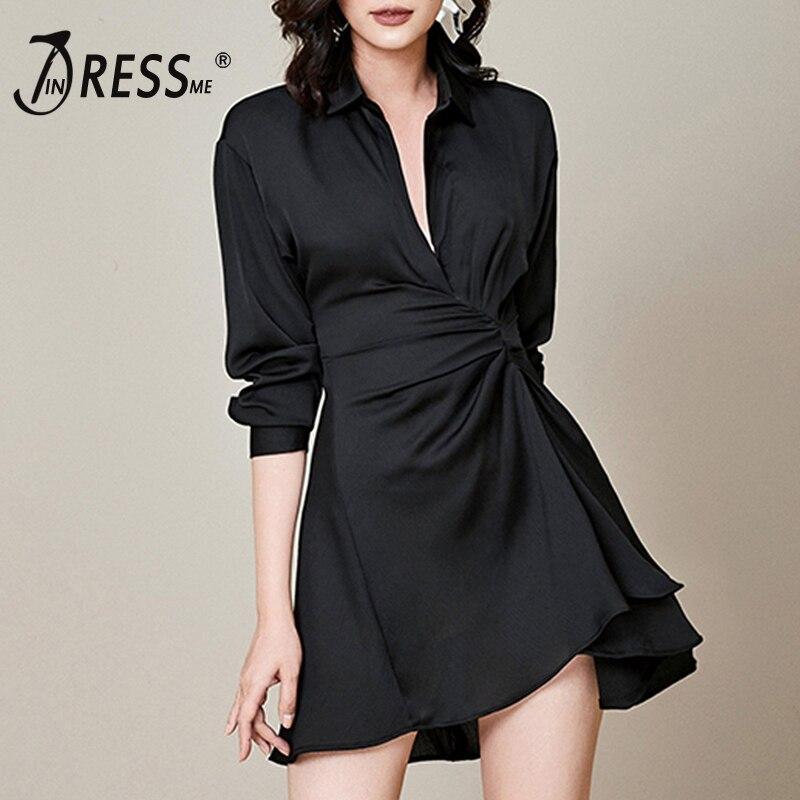Kadın Giyim'ten Elbiseler'de INDRESSME 2019 yeni kadın siyah moda derin V uzun kollu ince asimetrik OL stil Mini Ruffles elbise a line ofis bayan elbise'da  Grup 1