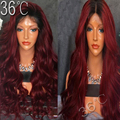 Ombre 99J Full Lace Human Hair Wig Natural Hairline Wavy Human Hair Front Lace Glueless Virgin Hair 1B Burgundy Lace Front Wig