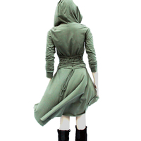 Irregular High Low Hoodies Dress Bandage Back Lace Up Army Green Dresses Cowl Neck Grey Gothic