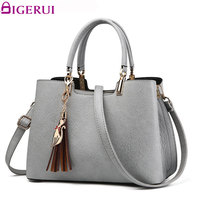 DIGERUI Women Leather Handbag Ladies Pu Leather Women Bag Fashion Tassel Shoulder Bags Totes Bolsa Feminina